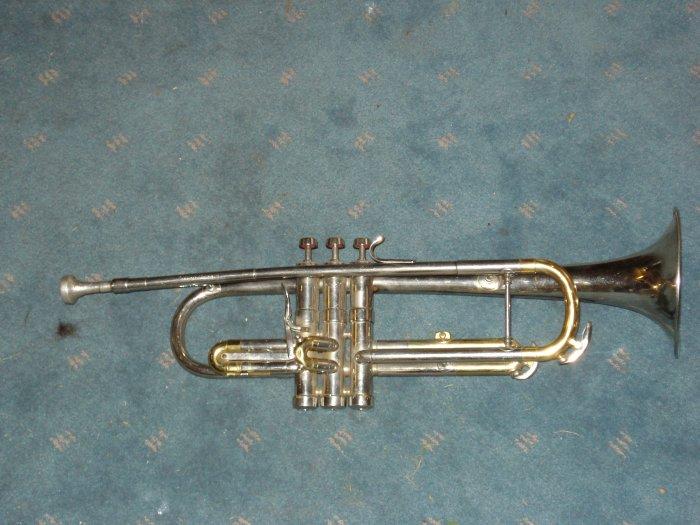 Vintage 50's trumpet style silver coronet