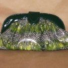 GREEN PEACOCK PRINT HANDBAG W/ SHOULDER STRAP
