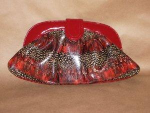 RED PEACOCK PRINT HANDBAG W/ SHOULDER STRAP