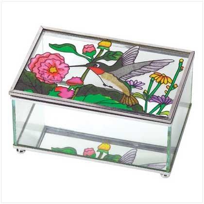 Hummingbird Stained Glass Jewelry Box