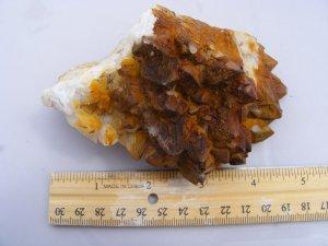 Manganese Iron Coated Skeletal Quartz Cluster