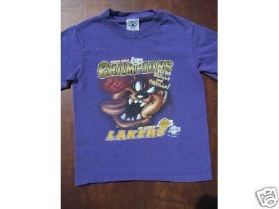 L.A. LAKERS 2000 NBA CHAMPS + TAZ youth S(6-8) T-SHIRT