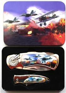 (2) History of Aviation Folding Knives With Display Box