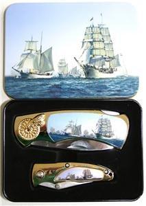 (2) Sailing Ships Folding Knives With Display Box