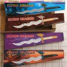 Set of (4) Flying Dragon Fantasy Knives &Display Stands