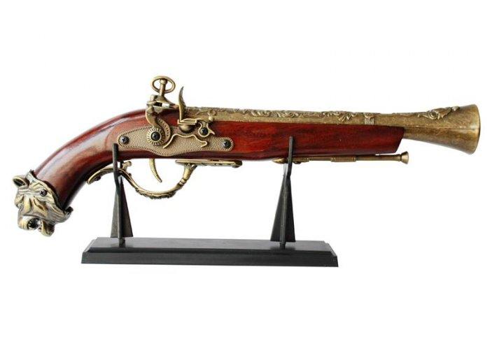 """New! - 15"""" Replica Flintlock Pistol With Stand"""