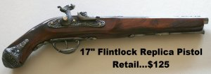 New! - 17 Inch Replica Flintlock Pistol With Stand