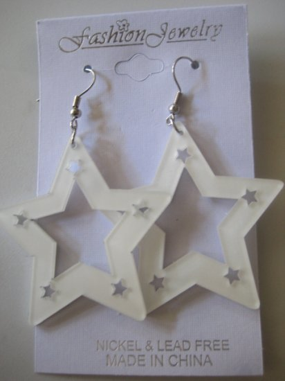 Star Studded  Earrings White