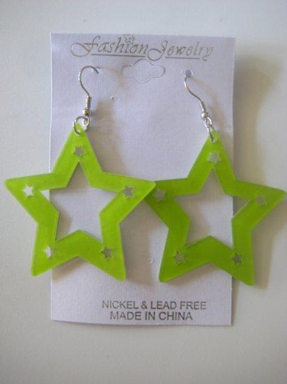 Star Studded Earrings Lime Green