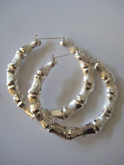 Jumbo Bamboo Earrings (Silver)
