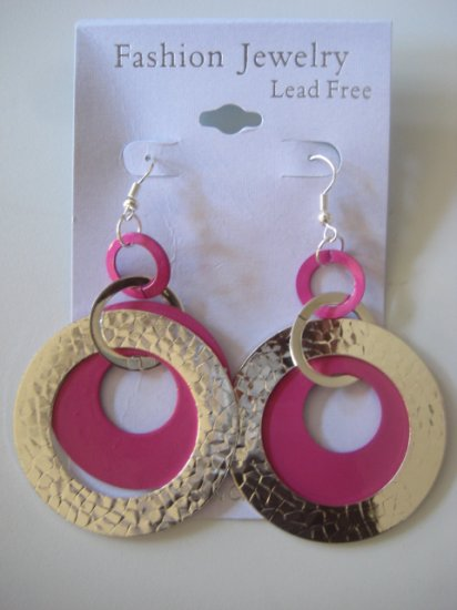 Circles Silvertone & Pink Earrings