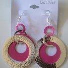 Circles Silvertone & Pink Earrings