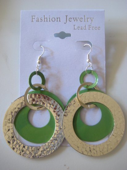 Circles Silvertone & Green Earrings