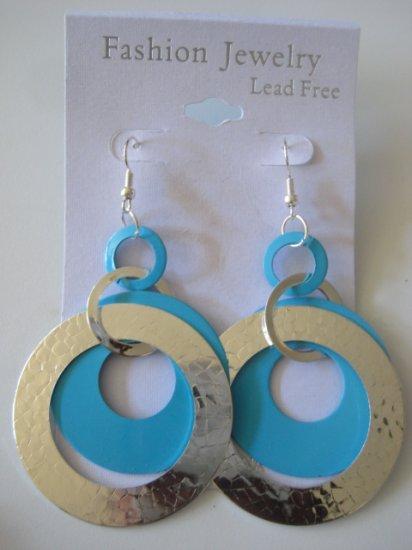 Circles Silvertone & Aqua Blue Earrings