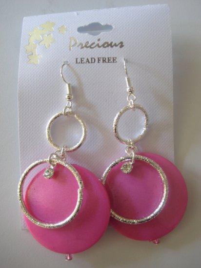 Rhinestone & Circles Silvertone/Pearl Pink