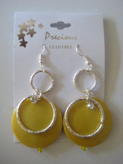 Rhinestone & Circles Silvertone/Pearl Yellow