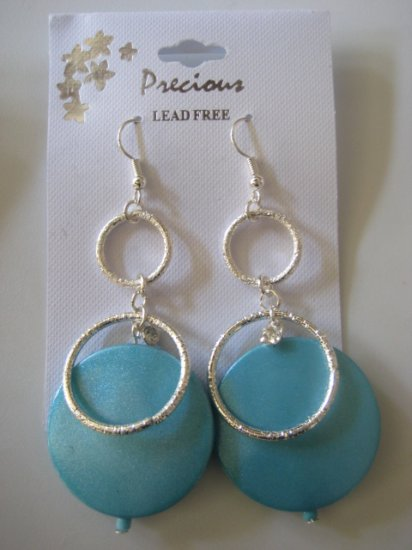 Rhinestone & Circles Silvertone/Pearl Mystic Blue