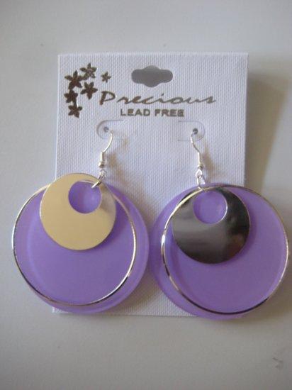 Purple & Silvertone Disk Earrings