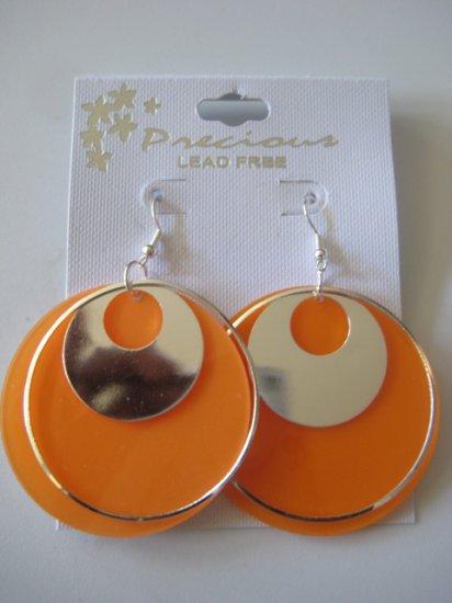 Orange & Silvertone Disk Earrings