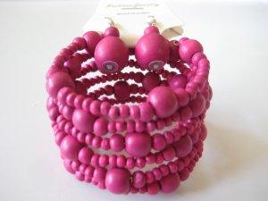 Pink Spiral Stretchable Bracelet & Earring Set
