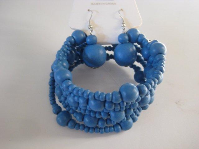 Electric Blue Spiral Stretchable Bracelet & Earring Set