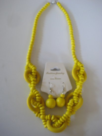 Yellow Intertwining Bead Necklace & Earring Set