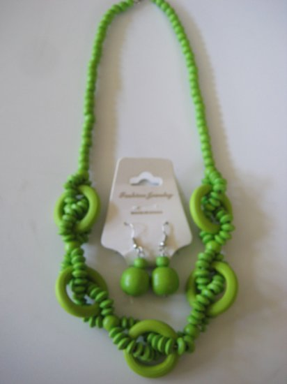 Lime Green Intertwining Bead Necklace & Earring Set
