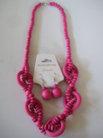 Pink Intertwining Bead Necklace & Earring Set