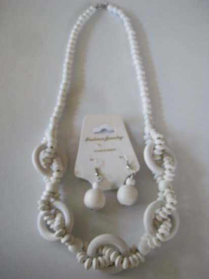 White Intertwining Bead Necklace & Earring Set