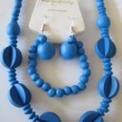 Electric Blue Art deco Style Necklace & Earring Set