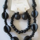 Black Art deco Style Necklace & Earring Set