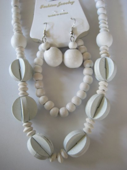 White Art deco Style Necklace & Earring Set