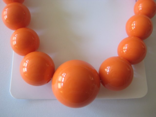 Orange Graduating Bead Necklace & Earring Set