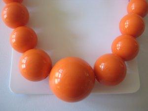 Orange Graduating Bead Necklace & Earring Set
