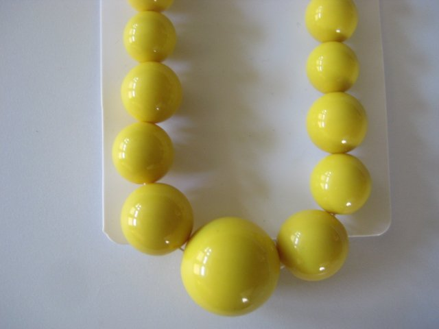Yellow Graduating Bead Necklace & Earring Set