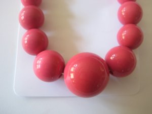 Pink Graduating Bead Necklace & Earring Set