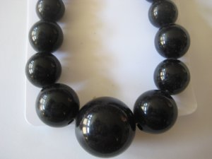 Black Graduating Bead Necklace & Earring Set