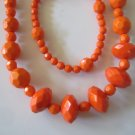 Orange Diamond Cut Necklace & Earring Set w/matching Bracelet