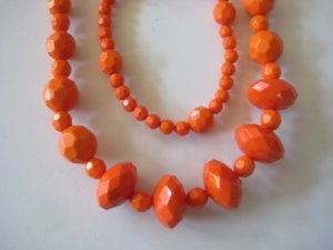 Orange Diamond Cut Necklace & Earring Set w/matching Bracelet