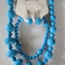 Electric Blue Diamond Cut Necklace & Earring Set w/matching Bracelet