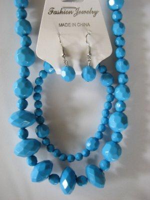 Electric Blue Diamond Cut Necklace & Earring Set w/matching Bracelet