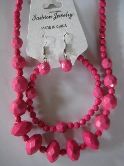 Pink Diamond Cut Necklace & Earring Set w/matching Bracelet