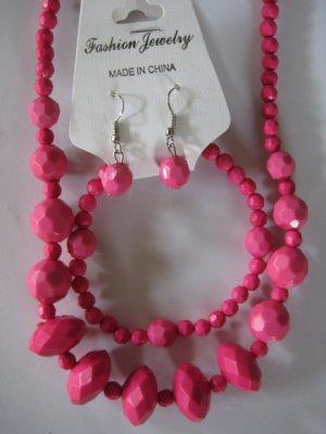 Pink Diamond Cut Necklace & Earring Set w/matching Bracelet