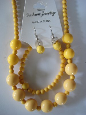 Yellow Round Beaded Necklace & Earring Set w/matching Bracelet