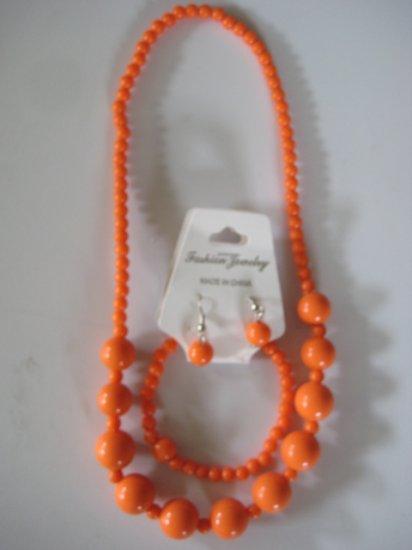 Orange Round Beaded Necklace & Earring Set w/matching Bracelet