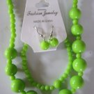 Lime Green Round Beaded Necklace & Earring Set w/matching Bracelet