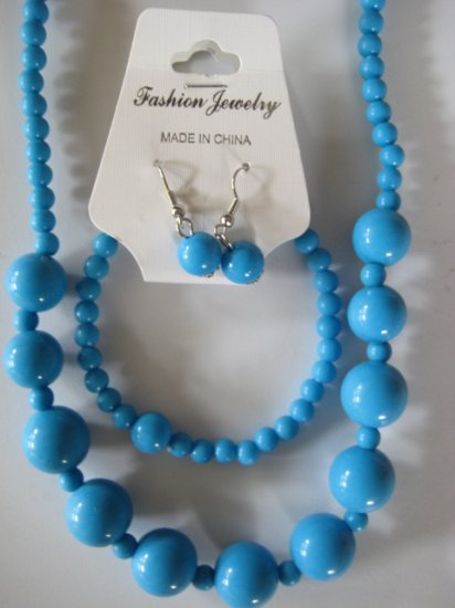 Electric Blue Round Beaded Necklace & Earring Set w/matching Bracelet