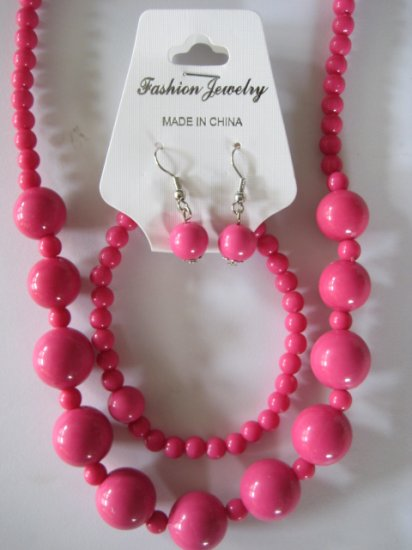 Pink Round Beaded Necklace & Earring Set w/matching Bracelet