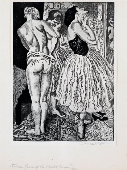 Three Graces of the Ballet, from the series Circus Prints, by Dame Laura Knight (British 1877-1970)