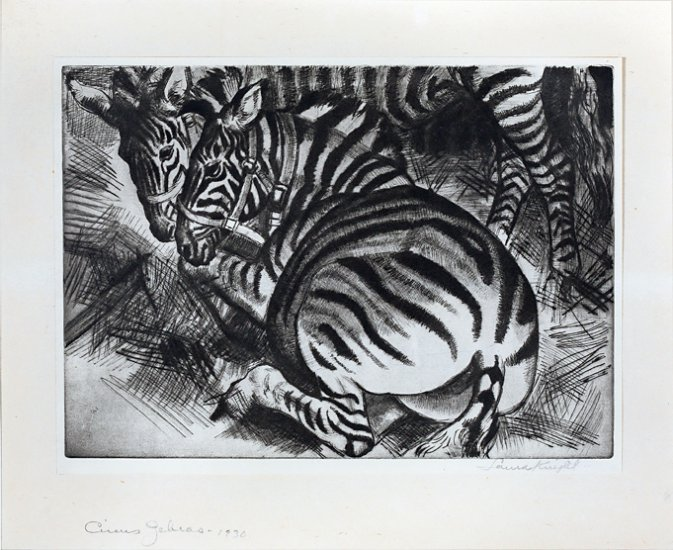 Circus Zebras, from the series Circus Prints, by Dame Laura Knight (British 1877-1970)